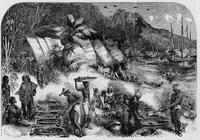 Macassans at Victoria, Port Essington, 1845, by HS Melville, published in The Queen, 8 February 1862 (source: national museum Australia)