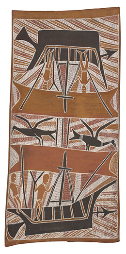 Makasar Prau, 1966, bark painting by Birrikitji Gumana, Yirrkala, 96 x 46cm. National Museum of Australia. © Buku-Larrnggay Mulka Art Centre (source: national museum Australia)